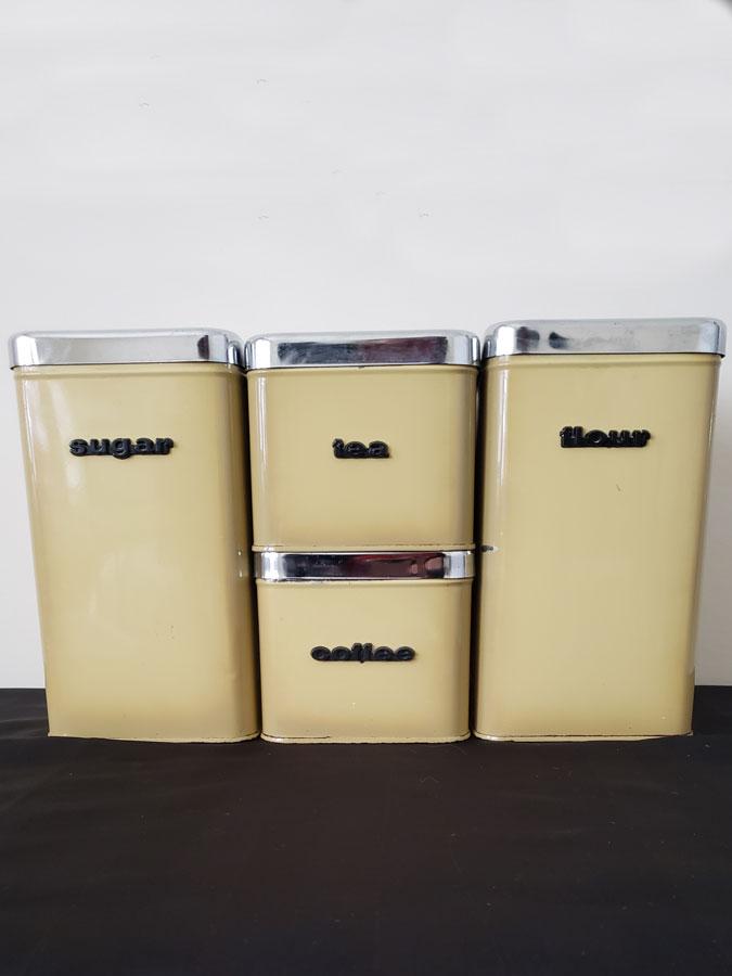 intage Harvest Gold Kitchen Canister Set